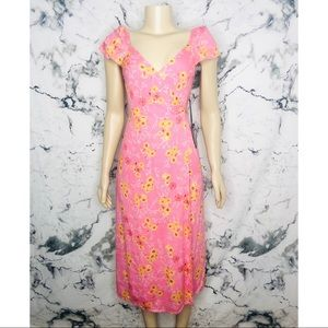 4SI3NNA Joan Pink & Yellow Floral Wrap Dress NEW